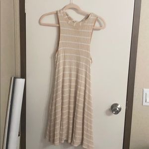 tan and white stripped dress